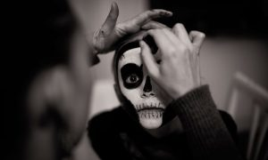 Children face painting for a Socially distanced Halloween