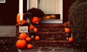 Pumpkins outside for a Socially distanced Halloween game - get the whole street involved!
